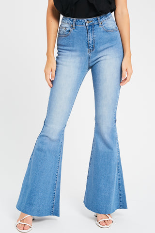 HIGH RISE FLARED DENIM PANTS