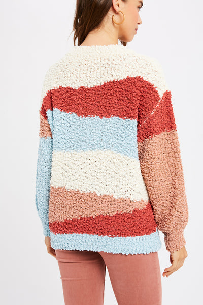 POPCORN MULTI COLOR BLOCK PULLOVER KNIT SWEATER