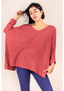 3/4 SLEEVE PULLOVER SWEATER IN MARSALA