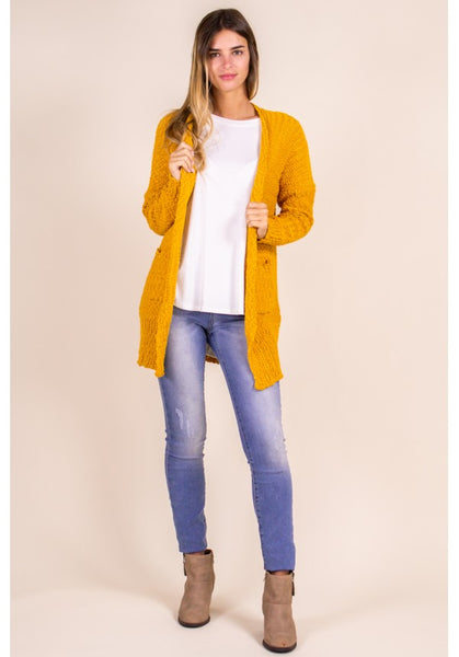POPCORN KNIT CARDIGAN IN MARIGOLD