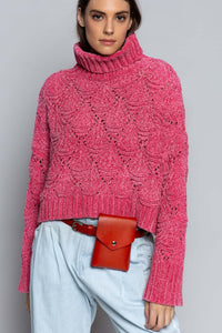 Bubble Gum Pink Cropped Eyelet Sweater