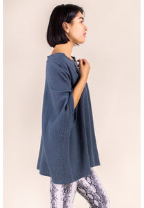GAUZE PONCHO TOP IN SLATE