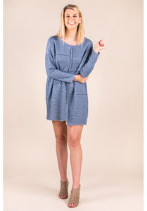 LONG SLEEVE FRENCH TERRY TUNIC IN BLUE