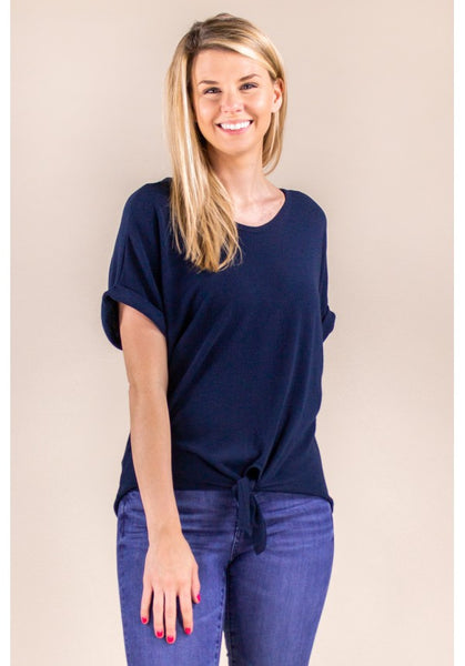 SHORT SLEEVE TOP WITH TIE FRONT IN ECLIPSE