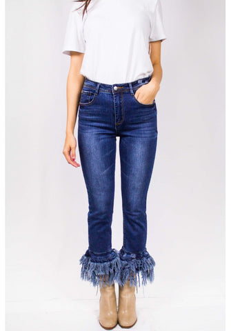DISTRESSED FRAYED DENIM PANTS