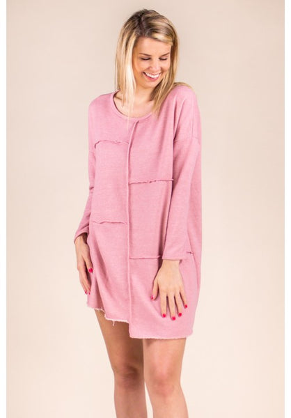LONG SLEEVE FRENCH TERRY TUNIC IN ROSE