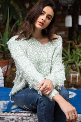SAGE HIGH LOW SWEATER