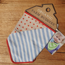 Load image into Gallery viewer, Blue Stripe & Brown Polka Dot Bandana