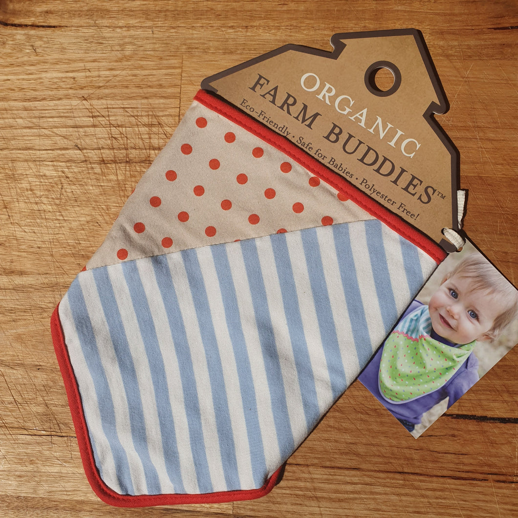 Blue Stripe & Brown Polka Dot Bandana