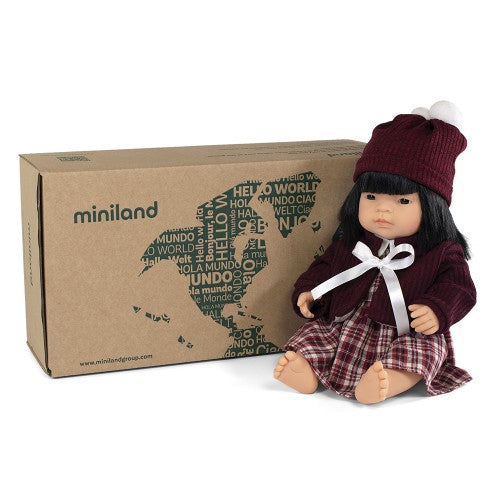 Miniland Doll - Anatomically Correct Baby, Asian Girl and Outfit Boxed, 38 cm