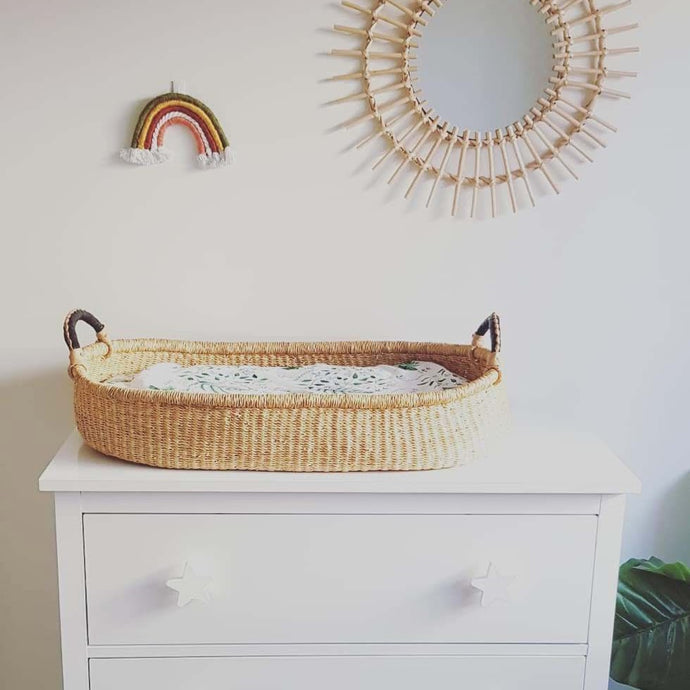Baby Change Basket - Natural with Black Handles