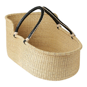 Baby Moses Basket - Natural with Black/Cream Handles