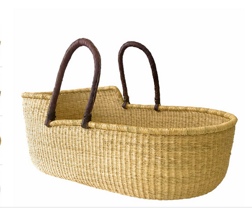 Baby Moses Basket - Natural with Hazelnut Handles