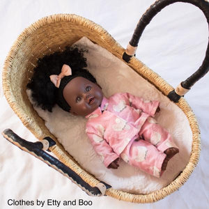 Mini Moses Doll Basket - Natural with Black/Cream Handles