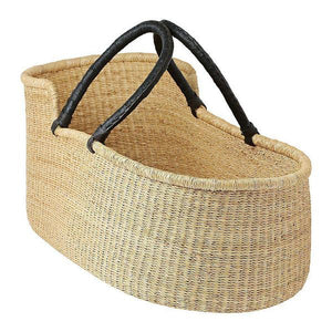 Baby Moses Basket - Natural with Black Handles