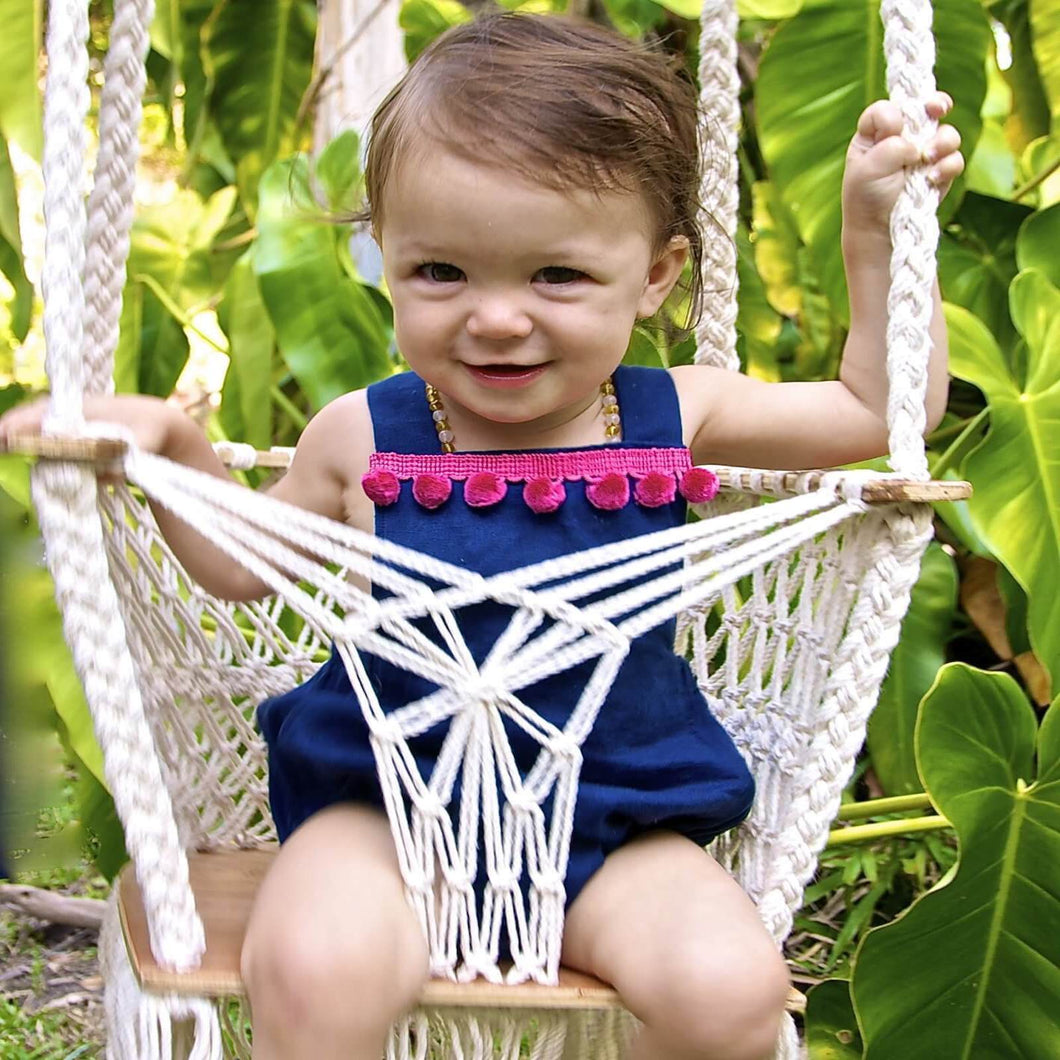 Baby Swing with Wooden Seat & Organic Macrame