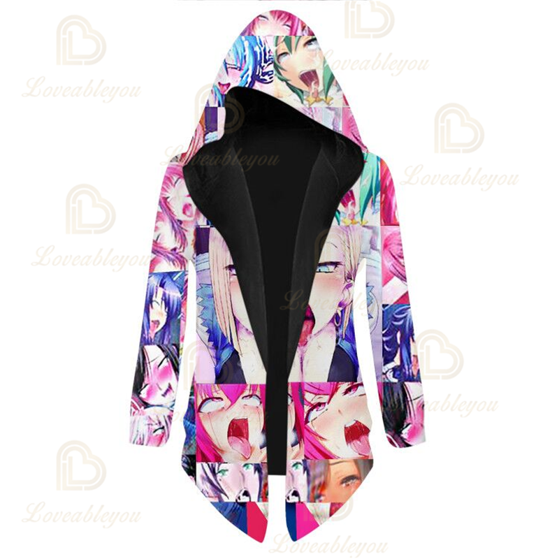 Anime Colorful O-Face Print Overcoat