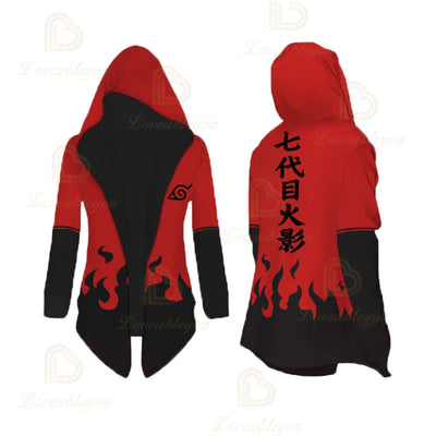Anime Cosplay Uzumaki Red Overcoat