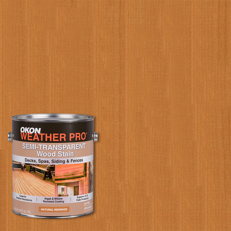 OKON WeatherPro Semi-Transparent Waterproofing Wood Stain, Natural Redwood