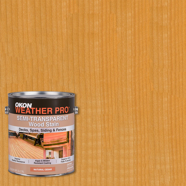 OKON WeatherPro Semi-Transparent Waterproofing Wood Stain, Natural Cedar