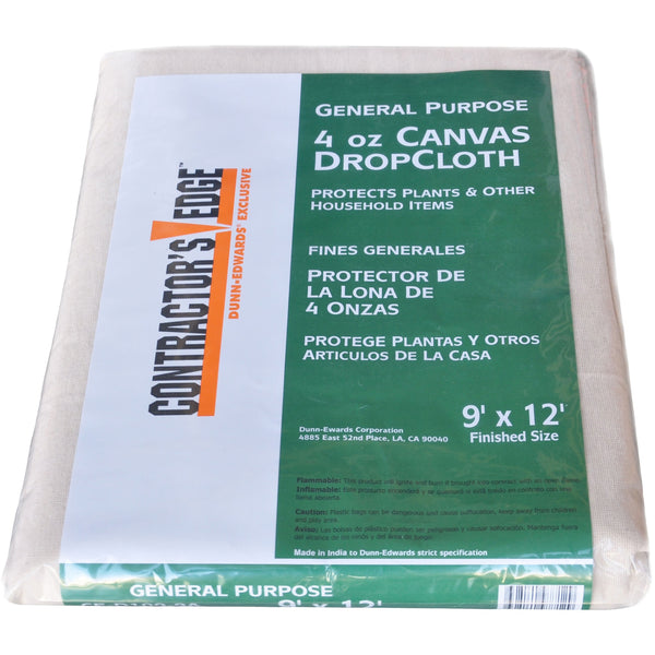 Contractor's Edge 9 ft. x 12 ft. Light Duty Canvas Drop Cloth