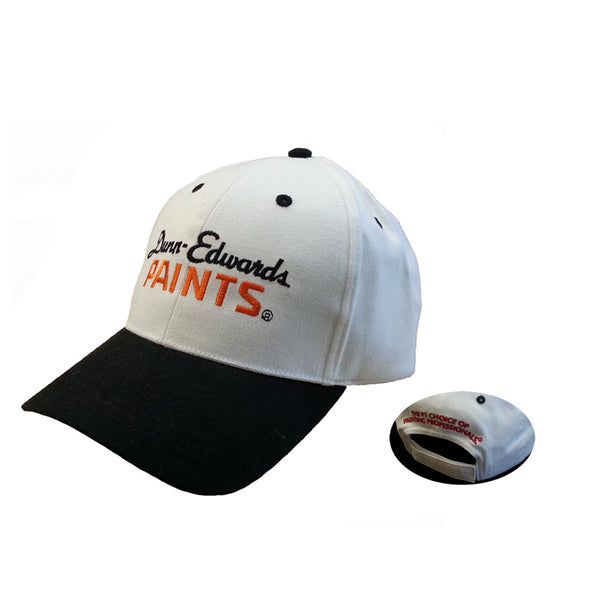 Dunn-Edwards Adjustable Baseball Cap, White & Black