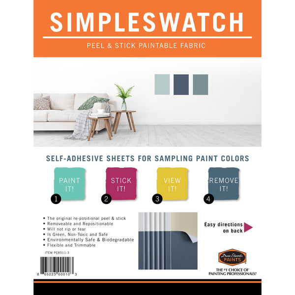 "SIMPLE SWATCH 8.5"" x 11"" Removeable Paintable Material for Color Sampling, 3 pack"