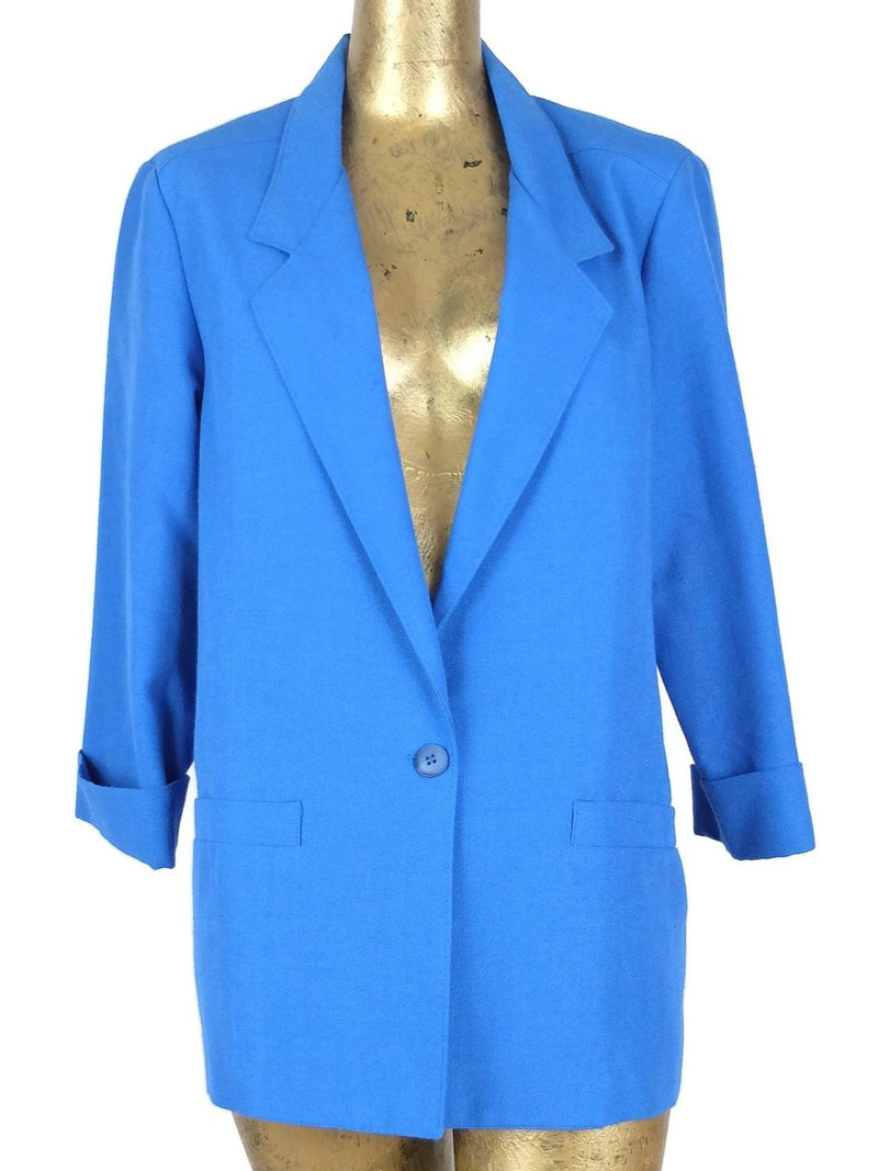 80s Mod Style Blue Collared Blazer Jacket