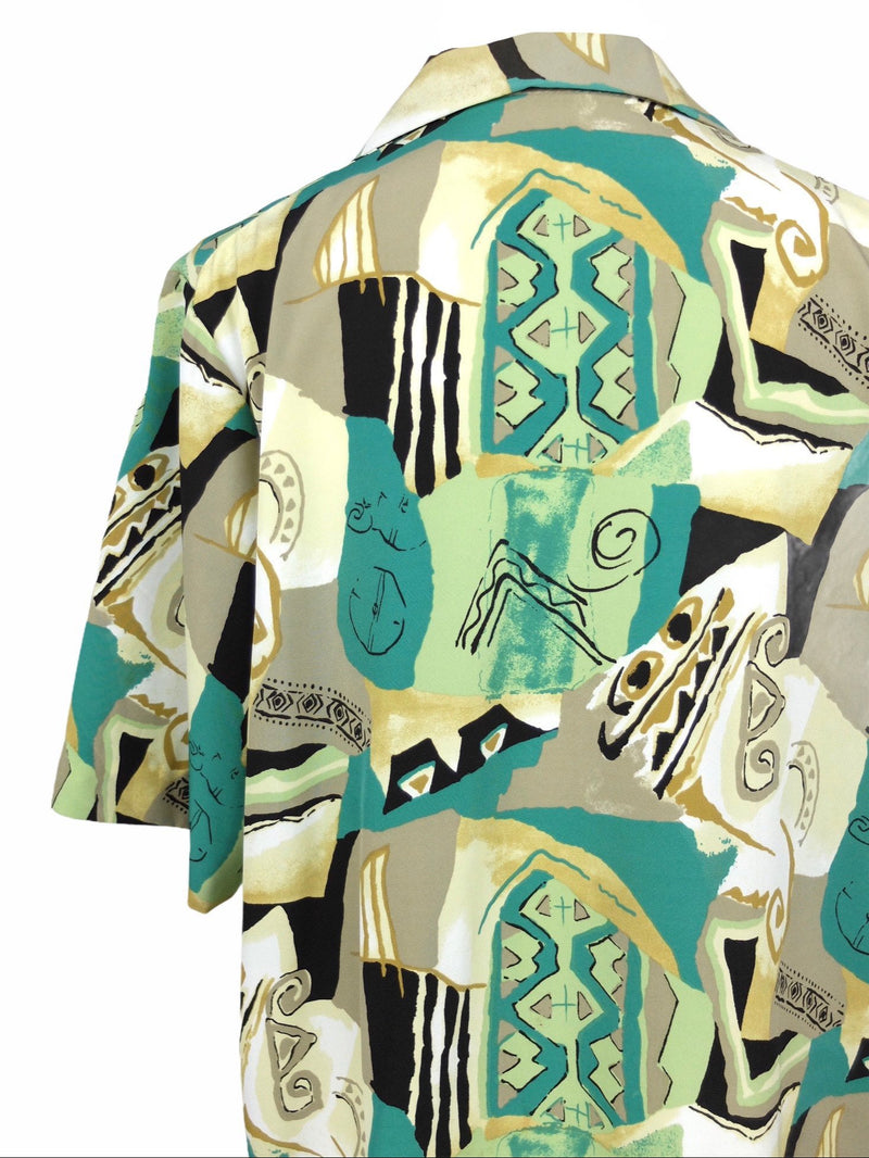 Vintage 80s Psychedelic Abstract Print Festival Style Collared Half Sleeve Button Up Hawaiian Shirt