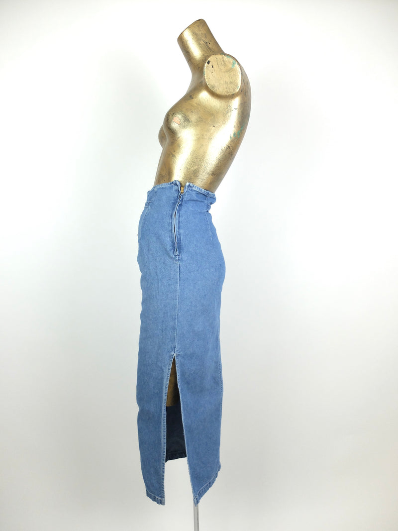 80s Western Bohemian Medium Wash Denim High Waisted Pencil Maxi Skirt with Slit