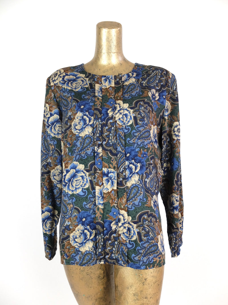 80s Bohemian Blue Floral Long Sleeve Scoop Neck Blouse