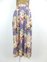 80s Romantic Pastel Purple Floral High Waisted Circle Maxi Skirt