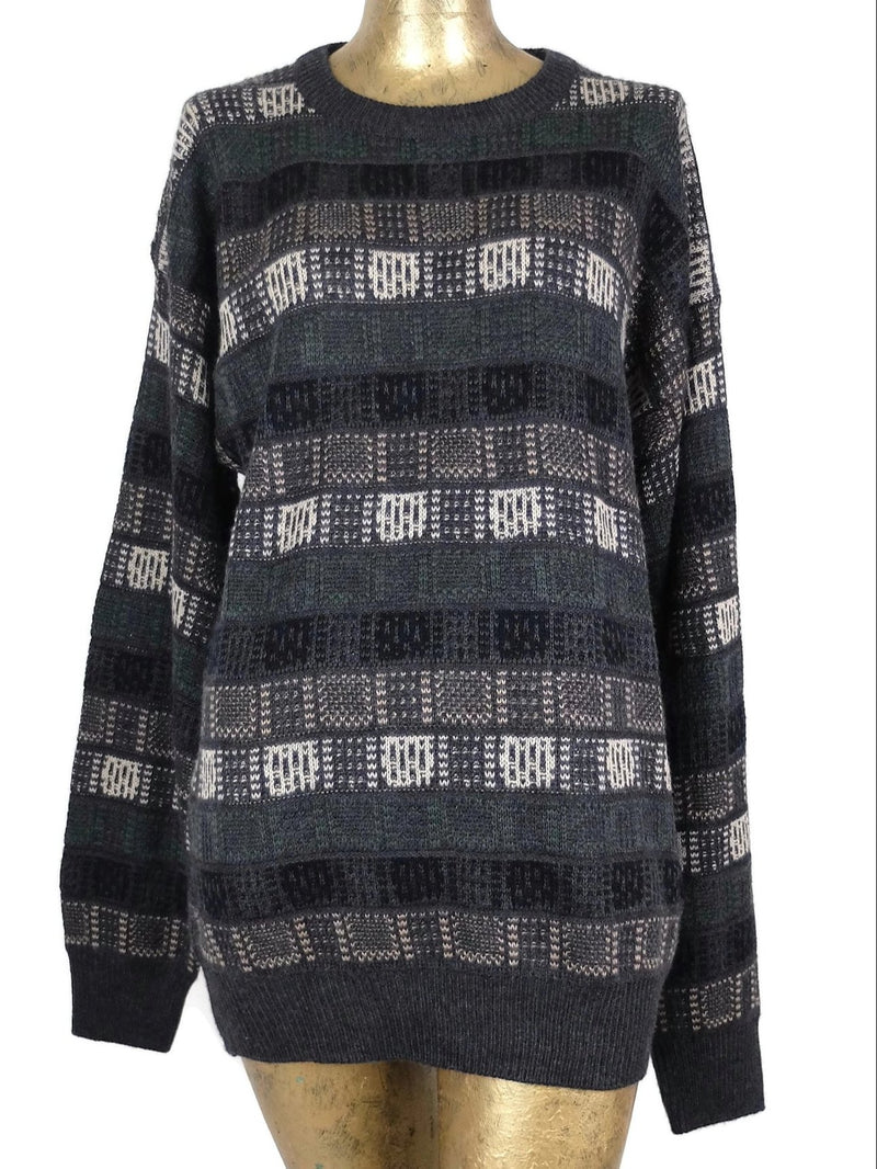 80s Abstract Geometric Crew Neck Pullover Knit Sweater Jumper
