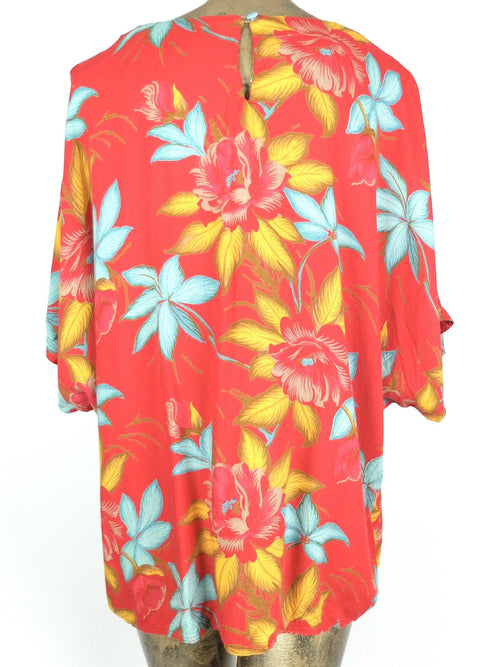 60s Mod Tropical Hawaiian Oversized Half Sleeve Pullover Blouse