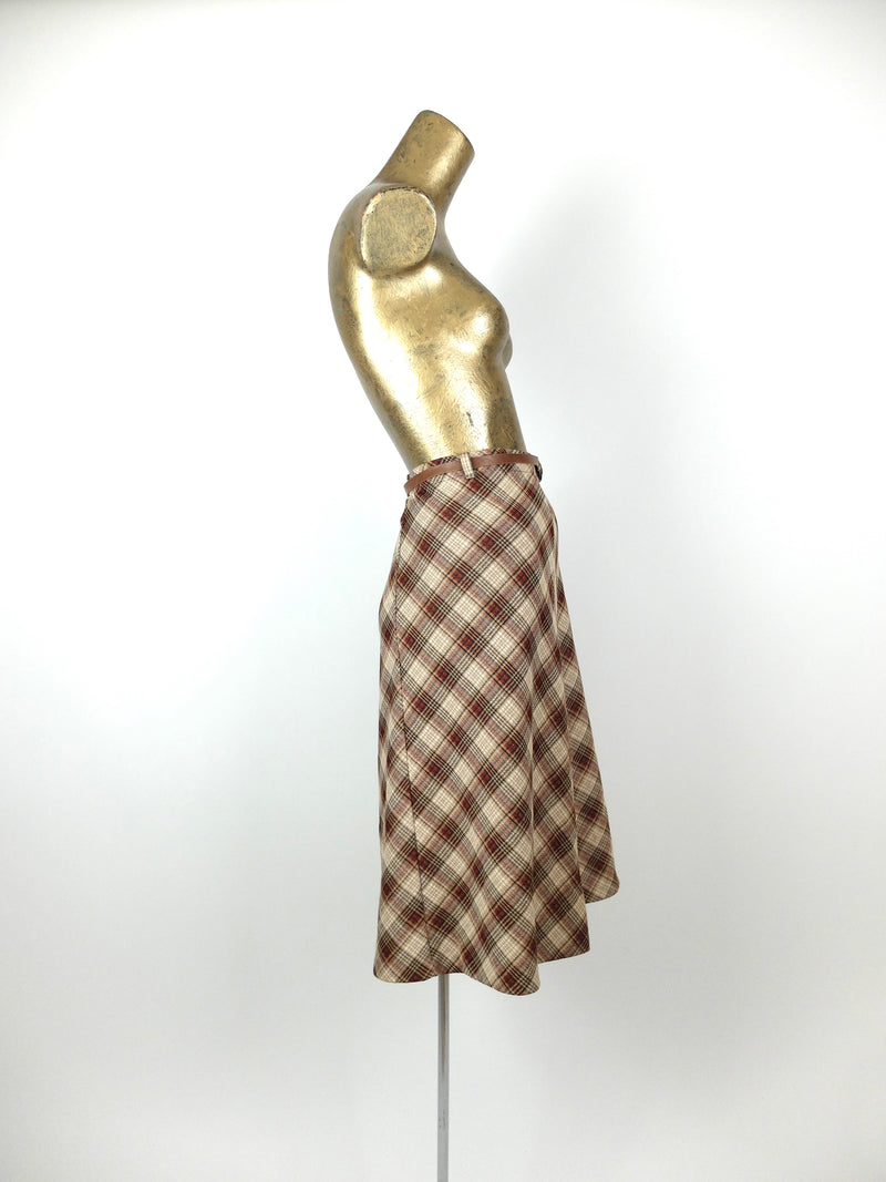70s Mod Check Print High Waisted Midi Circle Skirt with Thin Faux Leather Belt