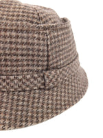 Vintage 70s Preppy Mod Wool Houndstooth Check Print Fisherman's Bucket Hat with Buckle