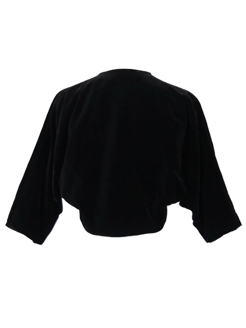 Vintage 80s does 20s Art Deco Style Black Velvet Cropped Boxy Blazer Jacket
