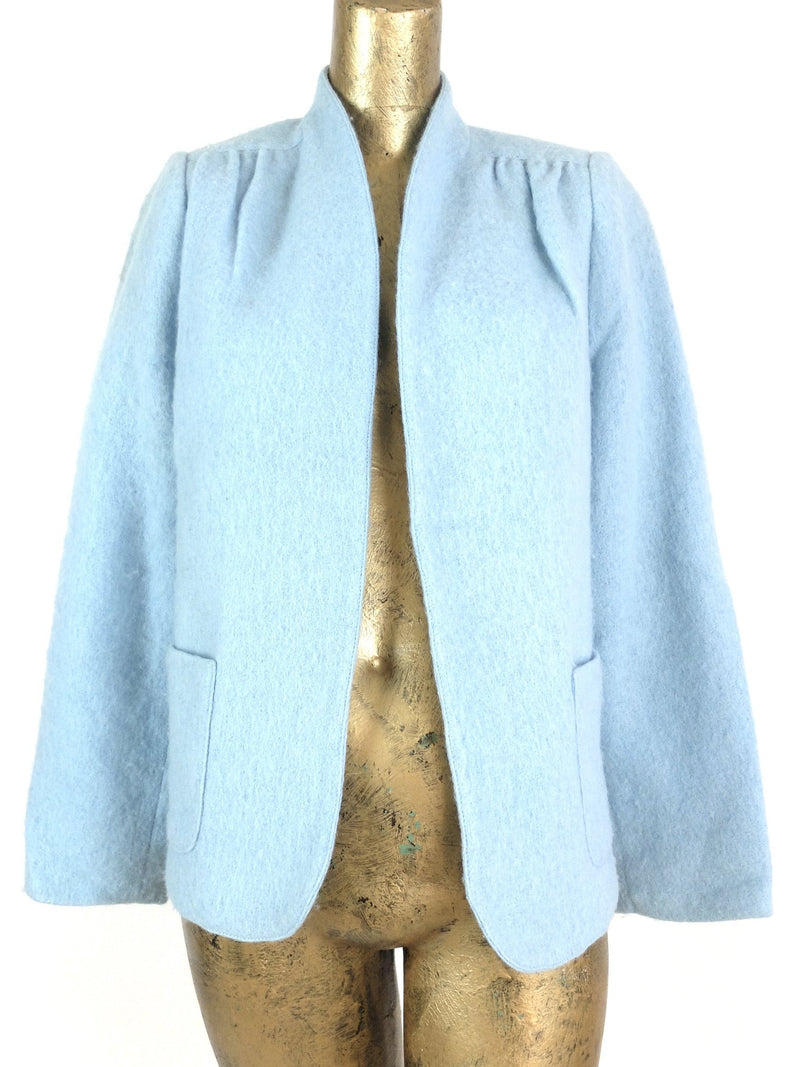 70s Mod Baby Blue Wool Open Blazer Jacket with Pockets