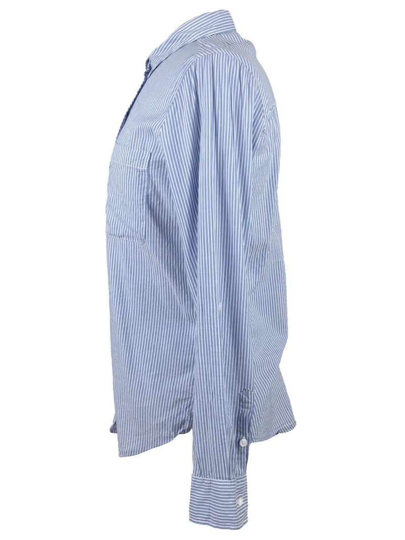 Vintage 90s Y2K Blue and White Striped Collared Thin Long Sleeve Button Up Dress Shirt