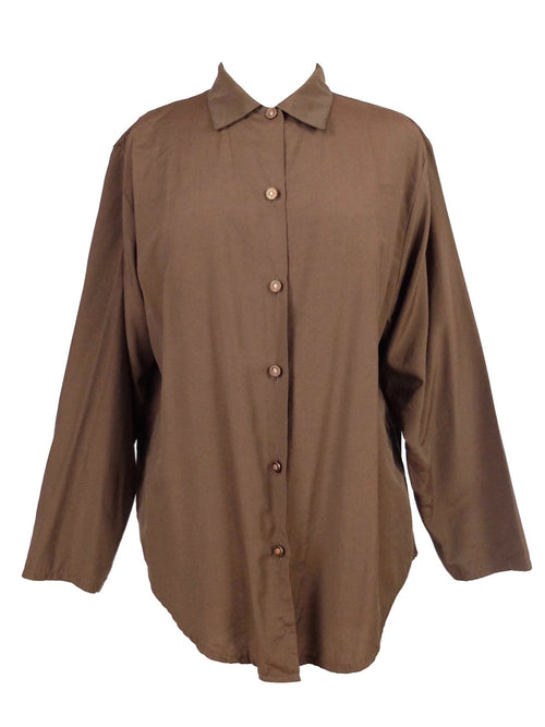 Vintage 60s Mod Brown Basic Collared Long Sleeve Button Up Disco Shirt