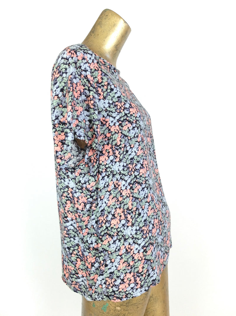 80s Bohemian Romantic Floral Short Sleeve Pullover Blouse