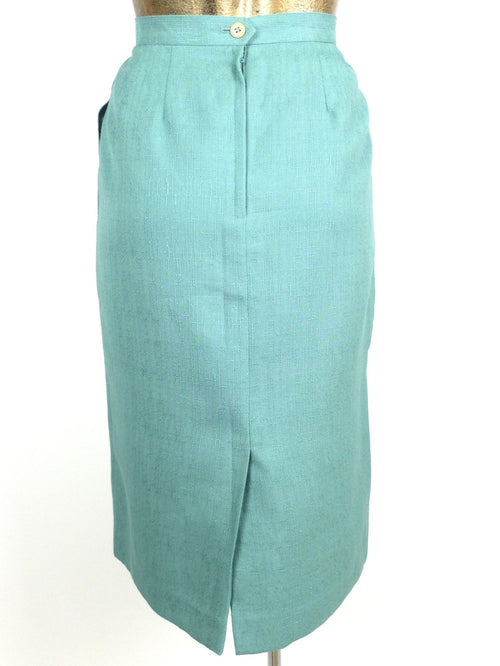 90s Aqua Green Basic High Waisted Pencil Midi Skirt with Pockets
