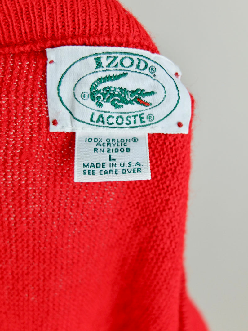 80s Lacoste IZOD Cherry Red Knit V-Neck Logo Pullover Sweater Jumper