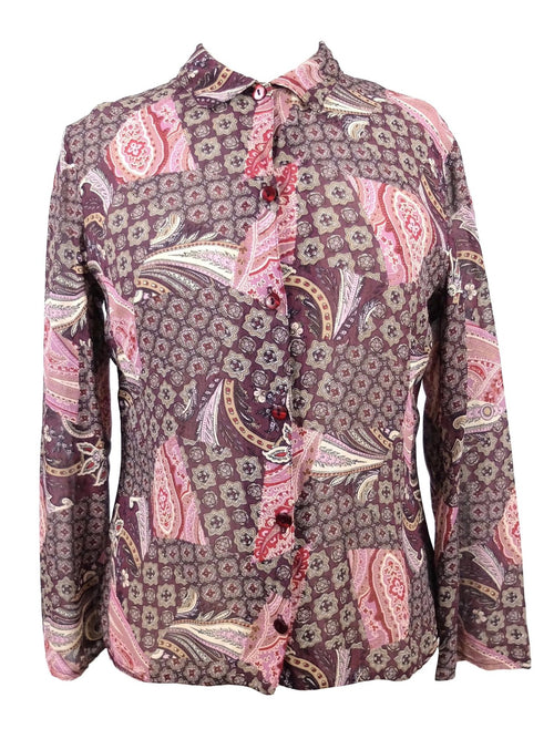 Vintage 1990s does 60s Psychedelic Paisley Collared Long Sleeve Sheer Chiffon Button Up Blouse