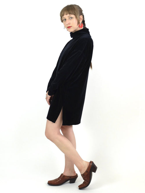 80s Black Velvet Long Sleeve Turtleneck Mini Dress Tunic