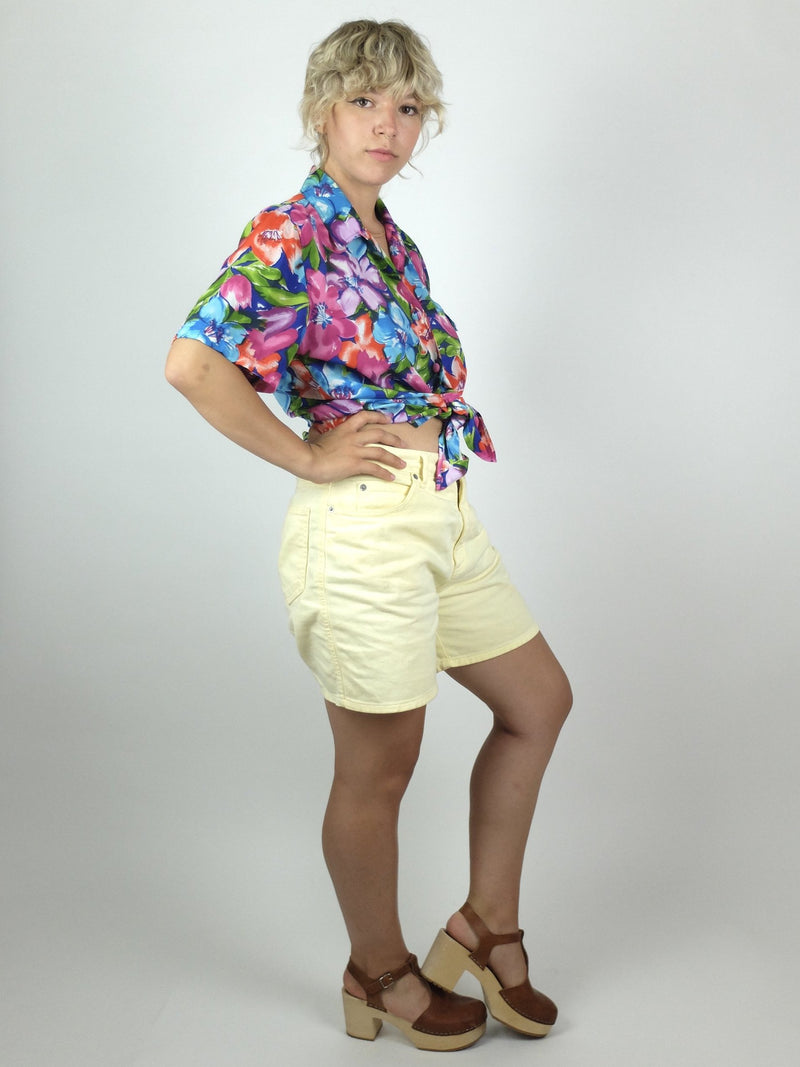 80s Bright Floral Short Sleeve Collared Button Up Hawaiian Shirt