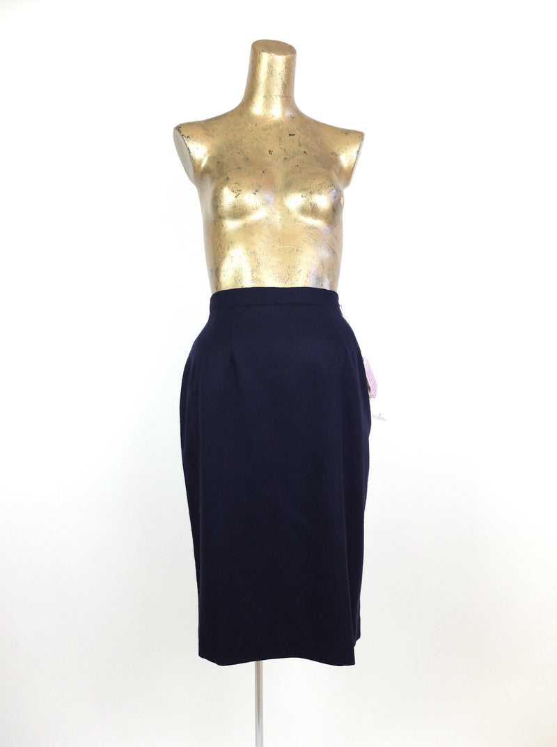 80s Deadstock Dark Blue High Waisted Below-the-Knee Pencil Skirt