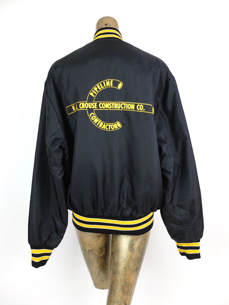 70s Athletic Black and Yellow Snap Baseball Windbreaker Baseball Jacket