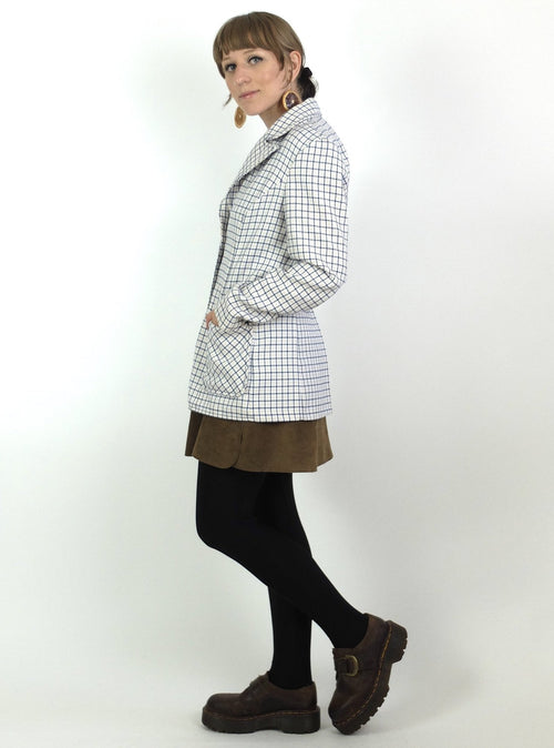 60s Mod Check Print Collared Button Down Blazer Jacket