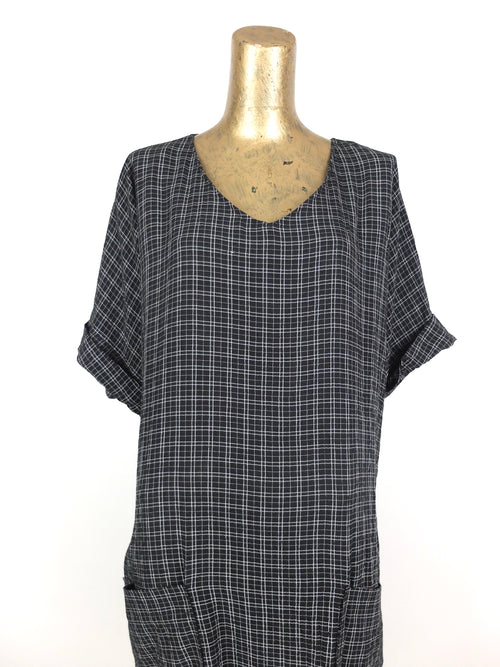 80s Grunge Grid Check Print Black and White Half Sleeve Tunic Shift Dress